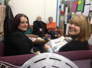 Some of the cast during rehearsals.  From r to l - Roxanna, Rosemary, Shelagh and Alison
