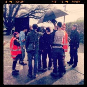 On the set of Loner, out in the car park of the Greytown Working Men's Club