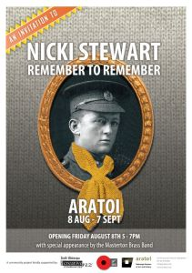 Nicki Stewart's exhibition, Remember to Remember, is at Featherston's Anzac Hall until 7th December